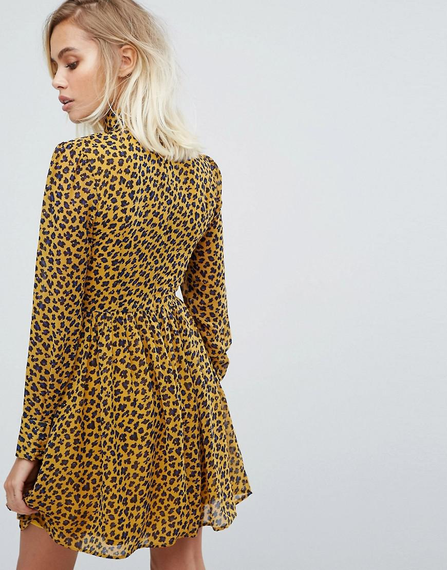 00c86d1ad21d Fashion Union High Neck Skater Dress In Leopard Print in Yellow - Lyst