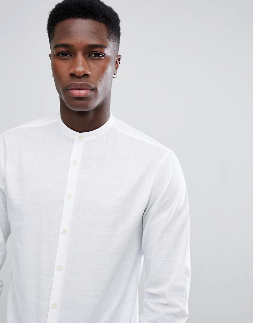 098480ad8 Lindbergh Mandarin Collar Shirt In White in White for Men - Lyst
