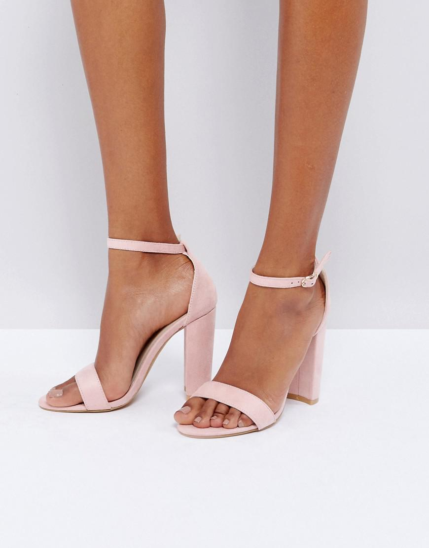49853df8f05 Glamorous Blush Barely There Block Heeled Sandals in Pink - Lyst