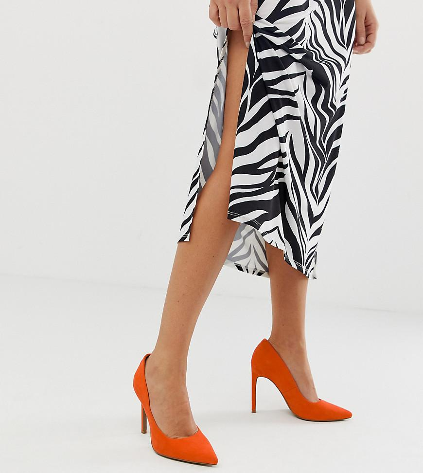 01677265203 ASOS Porto Pointed High Heeled Court Shoes In Tangerine in Red - Lyst