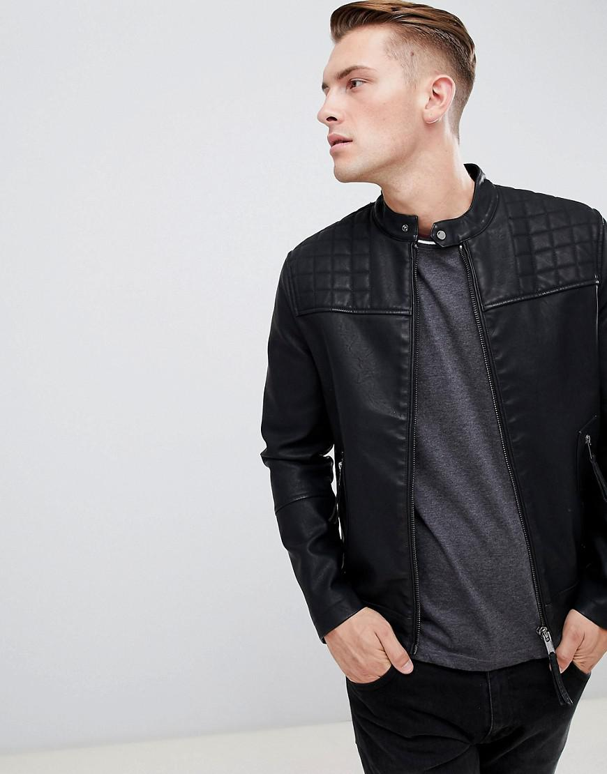 New Look Biker Jacket In Black In Black For Men Lyst