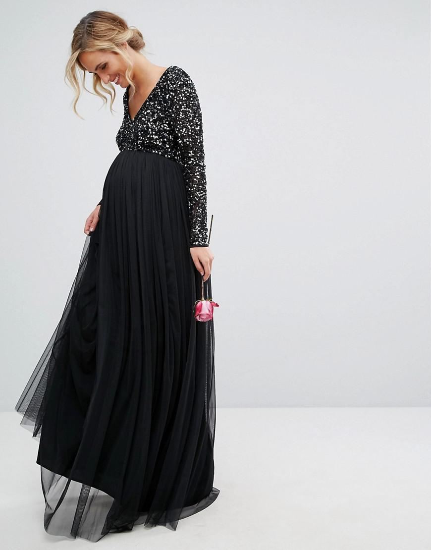 430e516cca32e Lyst - Maya Maternity Plunge Front Long Sleeve Maxi Dress In Tonal ...