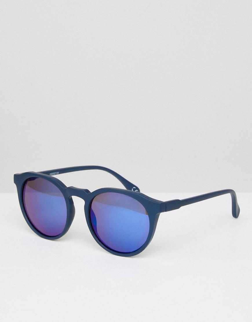 c50e090ed6b Lyst - ASOS Asos Round Sunglasses In Matte Navy With Blue Mirror ...