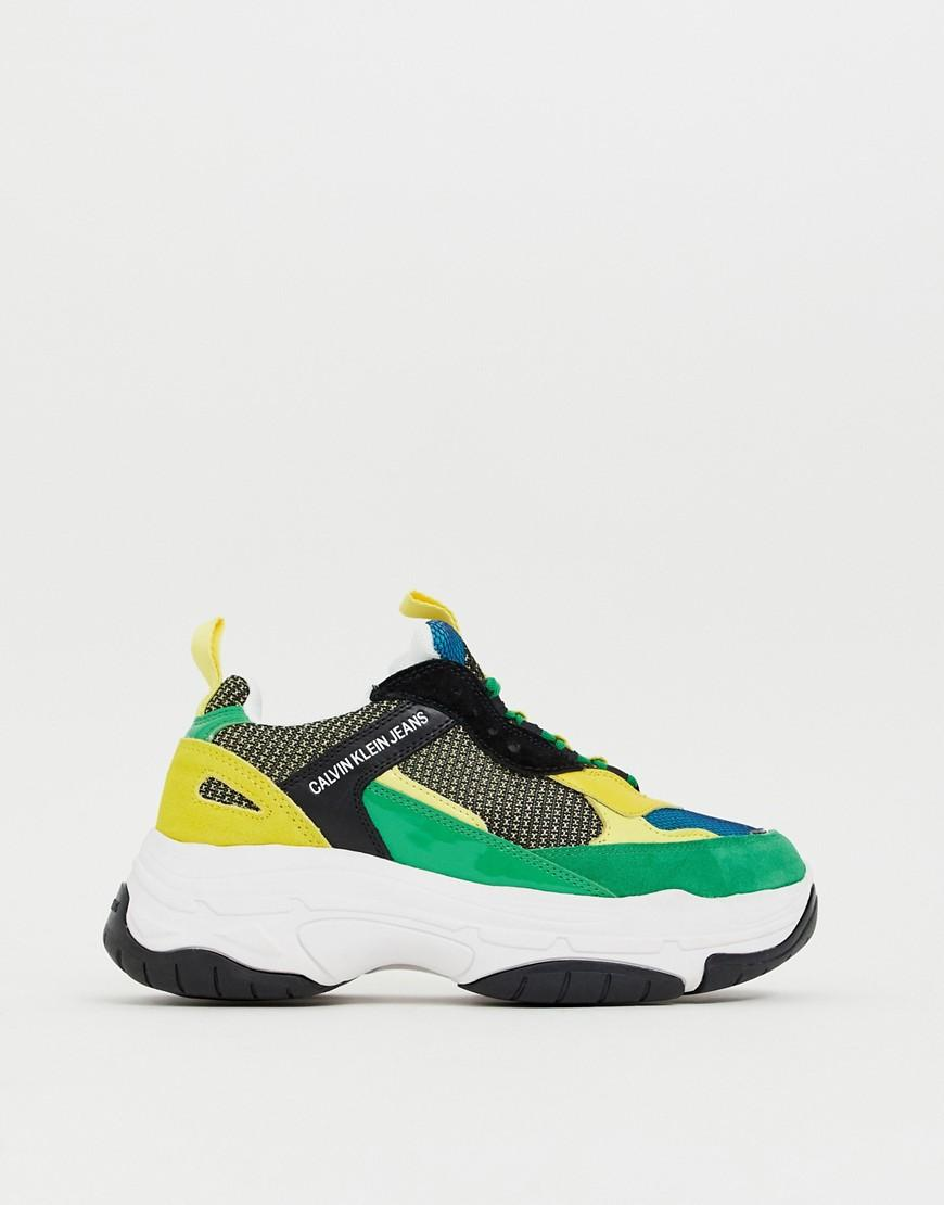 e89a1c295c705d Calvin Klein Marvin Chunky Trainers In Green Multi in Green for Men ...