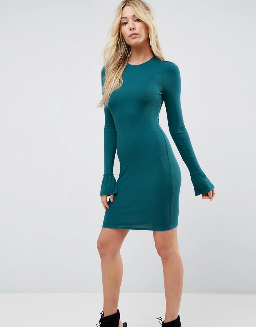 Mini Rib Bodycon Dress with Frill Cuffs - Green Asos Discount New Styles Cheap Popular Low Cost Cheap Price Clearance Excellent Low Cost Cheap Online FeH8A4r