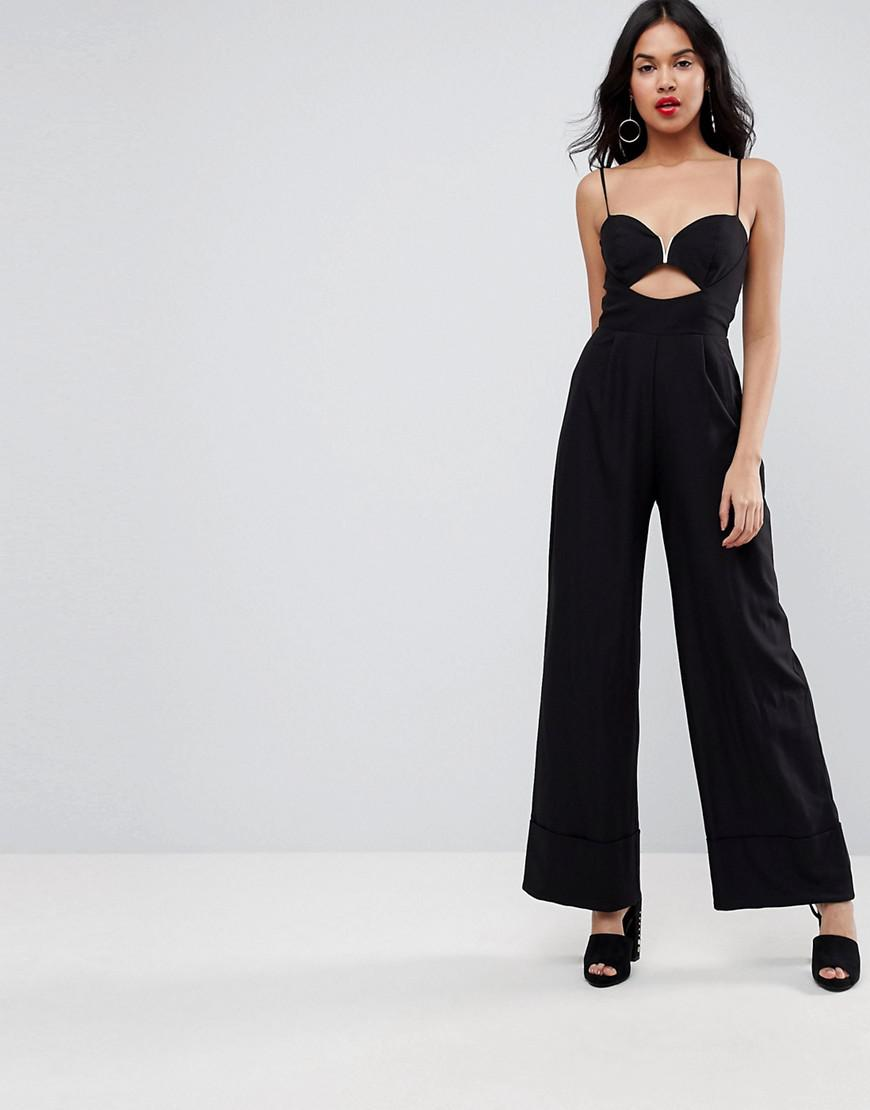 c89657e8603 Asos Tailored Jumpsuit With Cut Out And Wide Leg in Black - Lyst