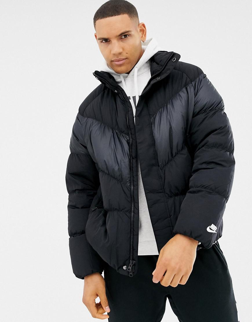 52f0ff8546e7 Nike Down Chevron Panel Jacket In Black 928893-010 in Black for Men ...