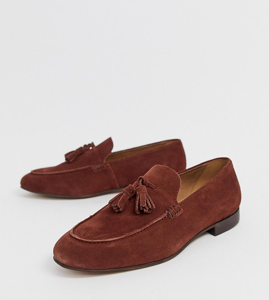 15fcf30fd4c H by Hudson Wide Fit Bolton Tassel Loafers In Rust Suede in Brown ...