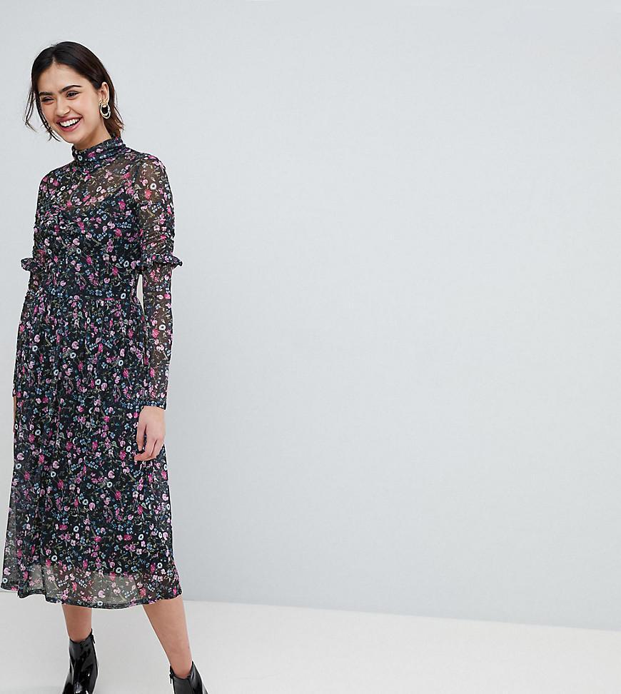 ASOS. Women's Mesh Ditsy Print Midi Dress With High Neck