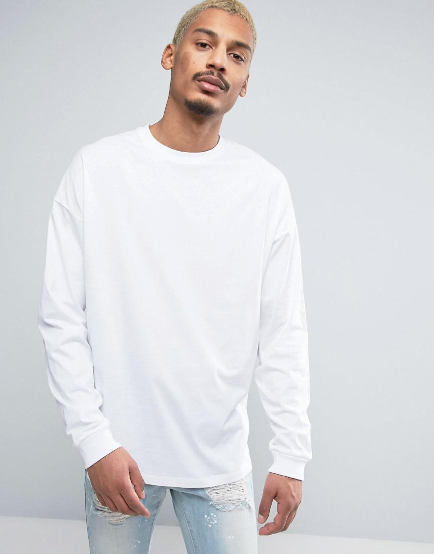 69c3785dd1d70e ASOS Oversized Long Sleeve T-shirt With Cuff In White in White for ...