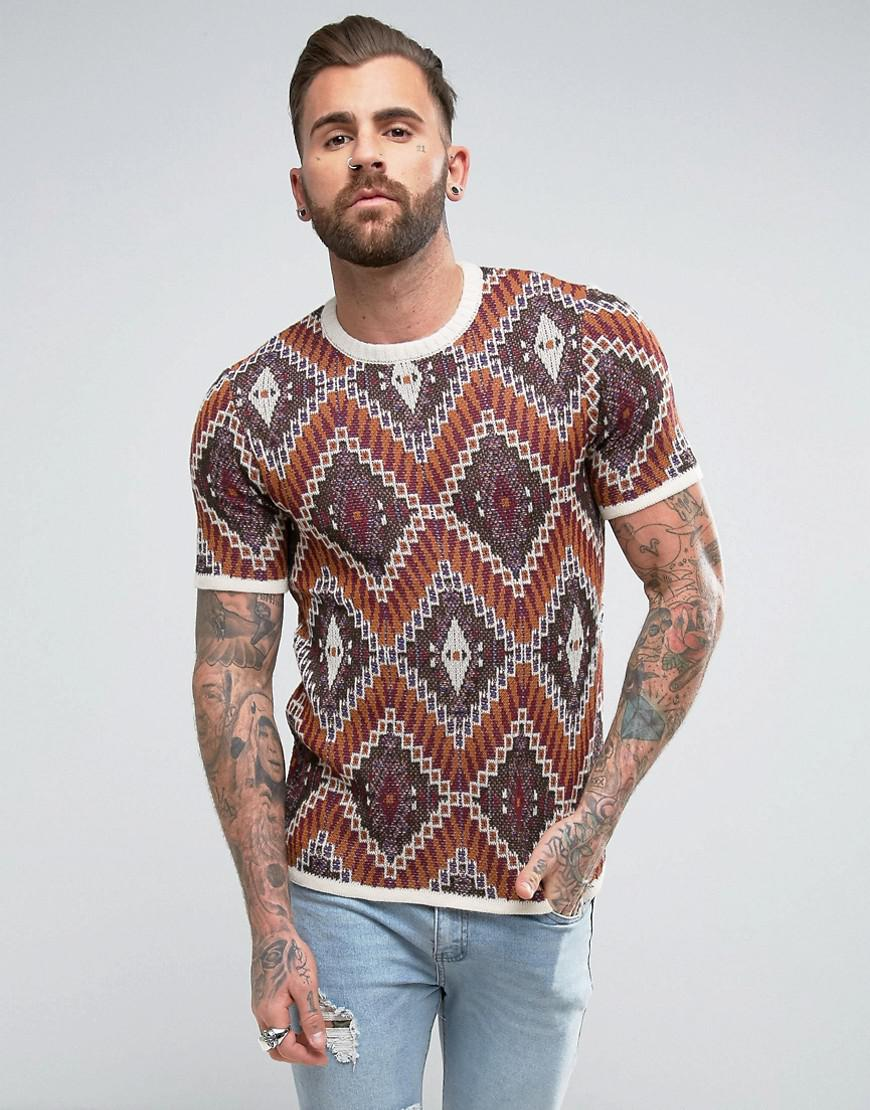 Lyst asos knitted t shirt with tapestry design in brown for Asos design free t shirt