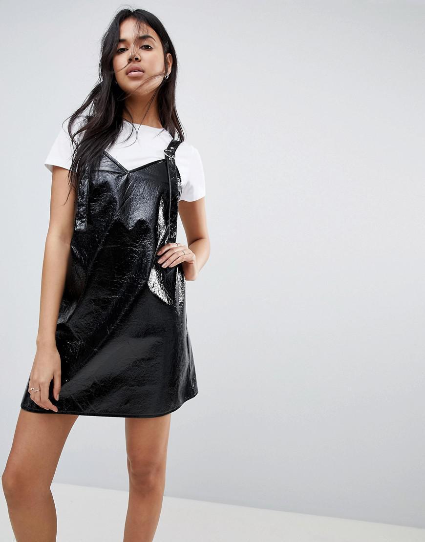 a59285644e Lyst - ASOS Asos Vinyl Mini Slip Dress in Black