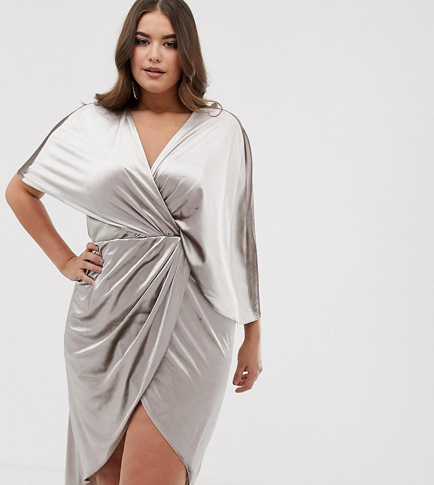 f532fb6217 ASOS. Women s Natural Asos Design Curve Midi Dress In Velvet With  Asymmetric Kimono Sleeve