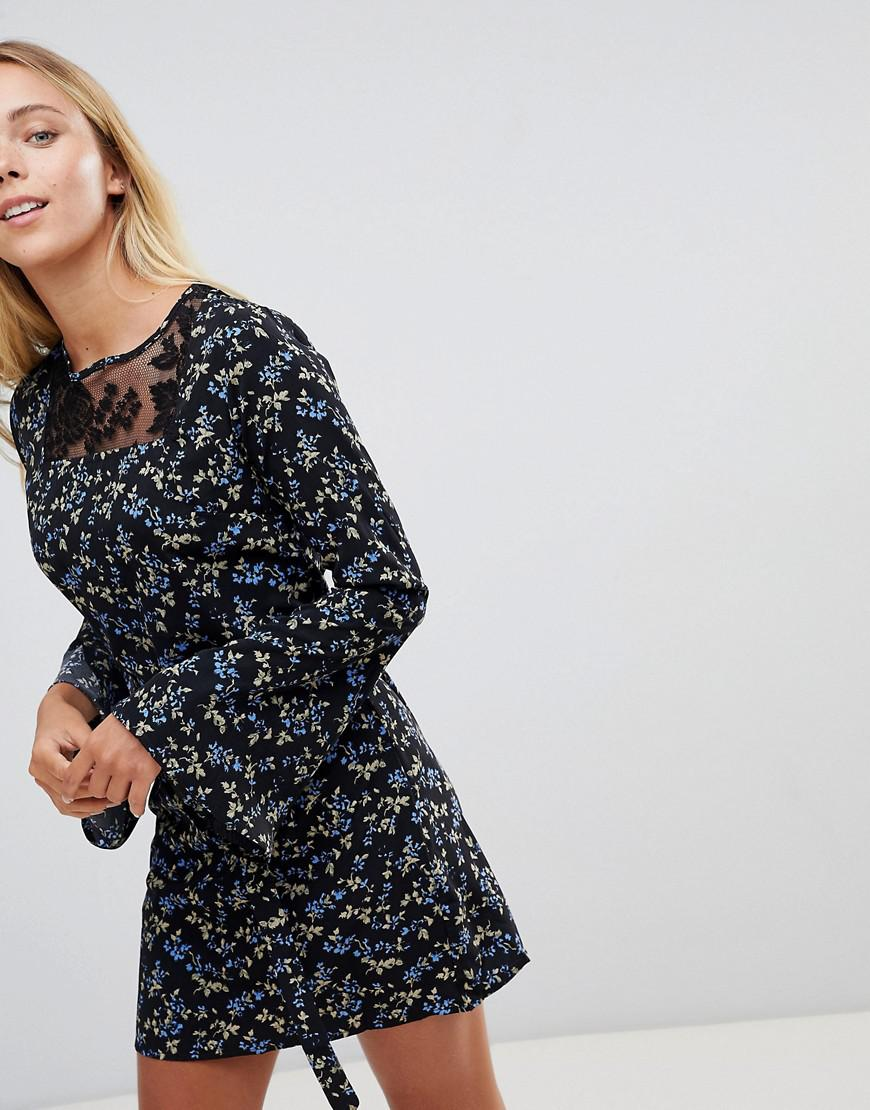 1601084cc81fe3 Rage Floral Lace Insert Dress in Black - Lyst
