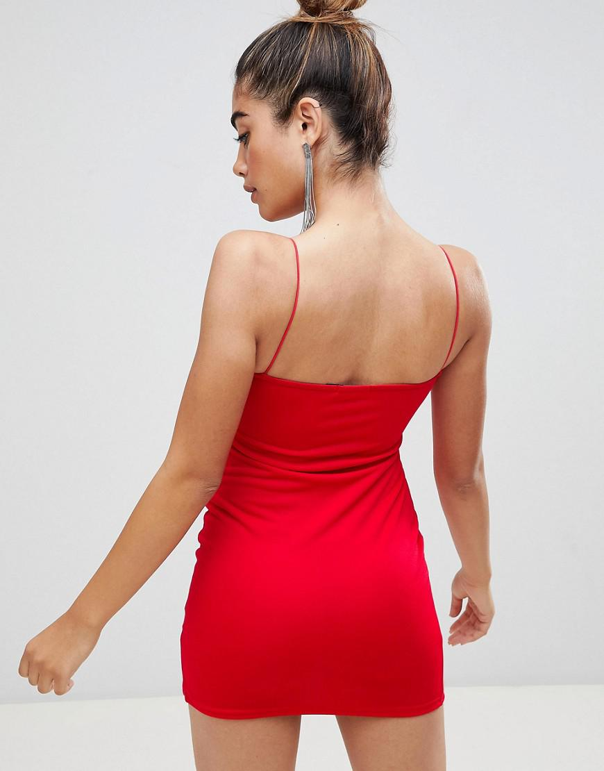 b3d9c2f1324b Lyst - Boohoo Basic Cami Strap Thigh Split Bodycon Dress In Red in Red