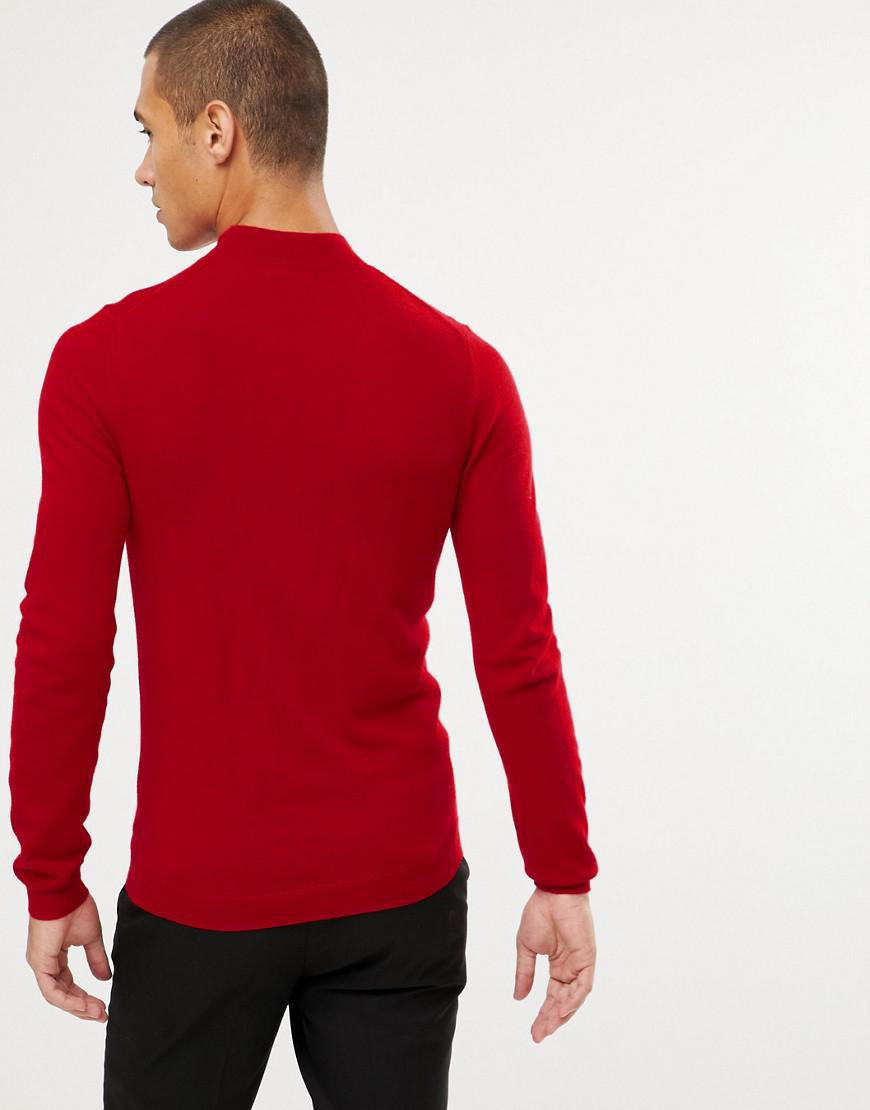 bf33da3194d7 ASOS Muscle Fit Merino Wool Turtleneck Sweater In Red in Red for Men - Lyst