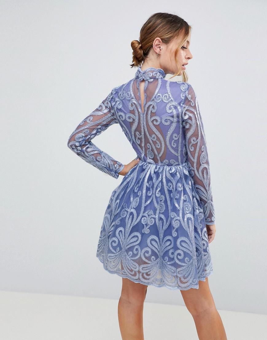 ea5d95ba07 Lyst - Chi Chi London Embellished Sequin Mini Skater Dress in Purple