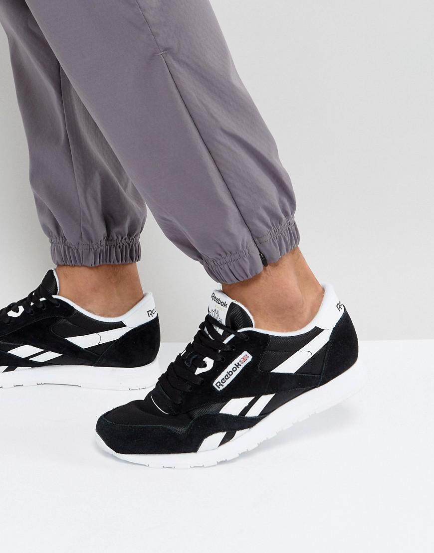 aa99c002a25 Reebok - Classic Leather Nylon Trainers In Black 6604 for Men - Lyst. View  fullscreen