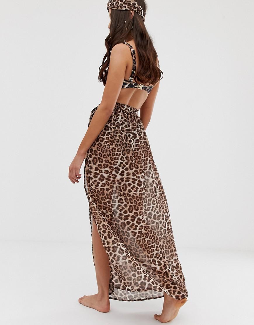 8553f3fed7 Miss Selfridge Exclusive Wrap Beach Skirt In Leopard Print in Natural - Lyst