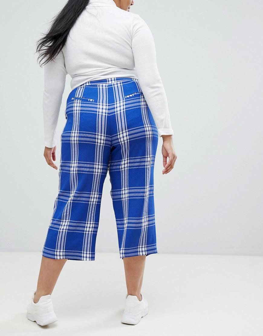 2277bf1b1c Lyst - ASOS Asos Design Curve Tailored Blue Picnic Check Cropped Wide Leg  Pants in Blue