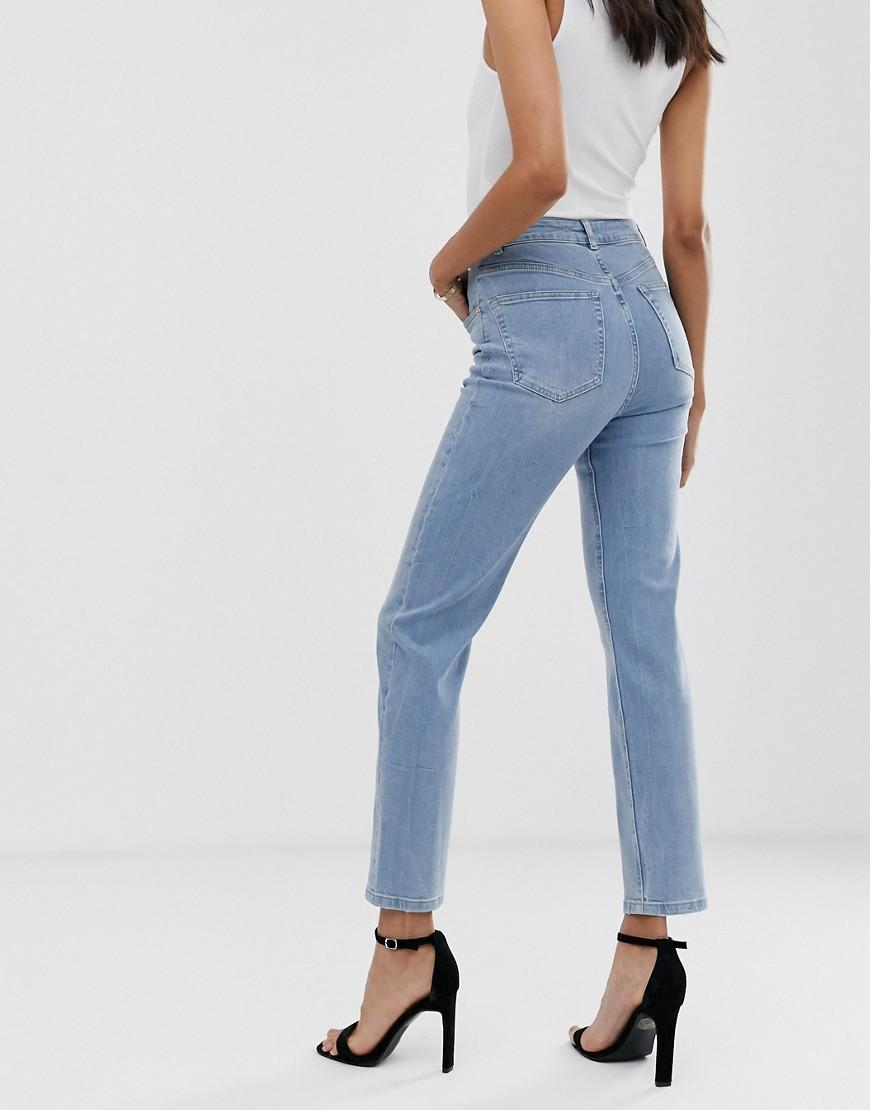 4dd152a734e20 ASOS Asos Design Tall Florence Authentic Straight Leg Jeans In Low Stretch  Denim In Light Vintage Wash in Blue - Lyst