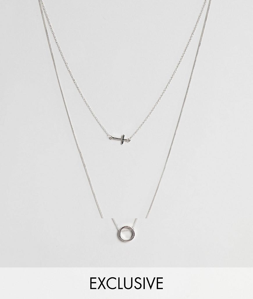 81bb0d544d5e Pack de 2 collares de cadena en plateado antiguo y colgante de ...