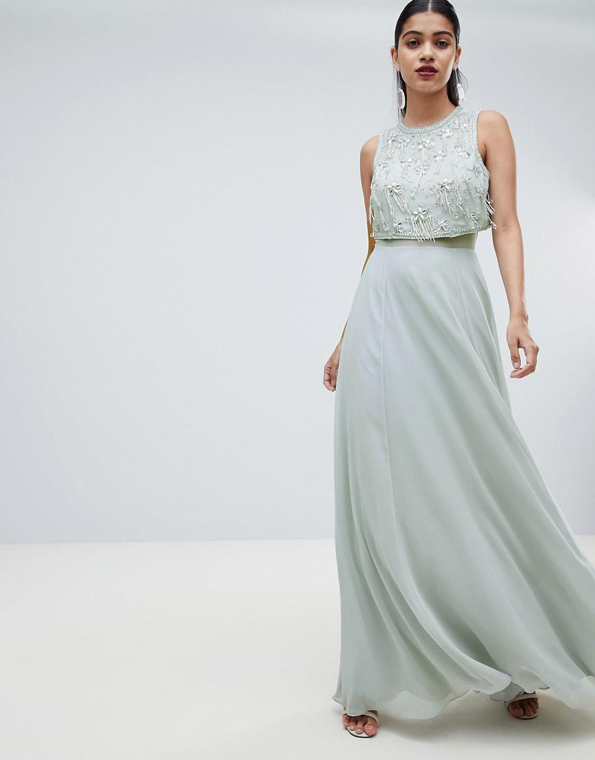 Lyst - ASOS Star Embellished Crop Top Maxi Dress in Gray c8f22d65736