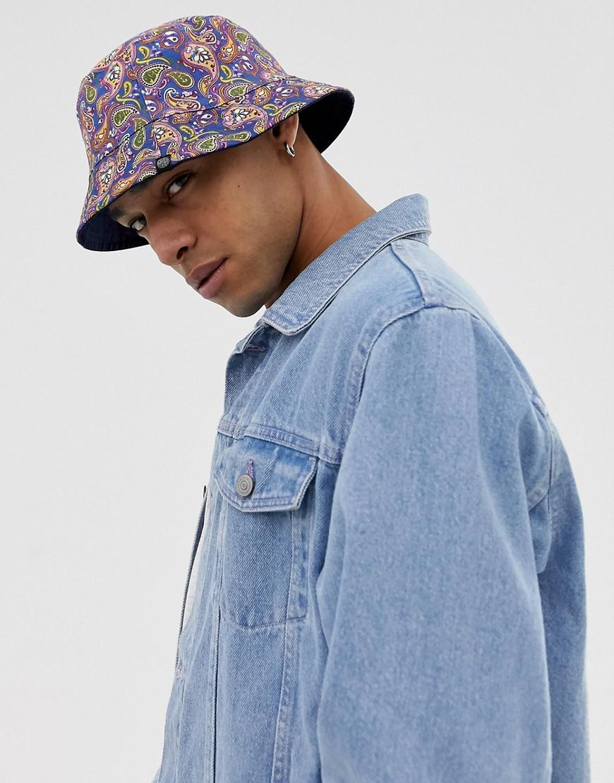 1988df919bf Pretty Green All Over Paisley Print Reversible Bucket Hat in Blue ...