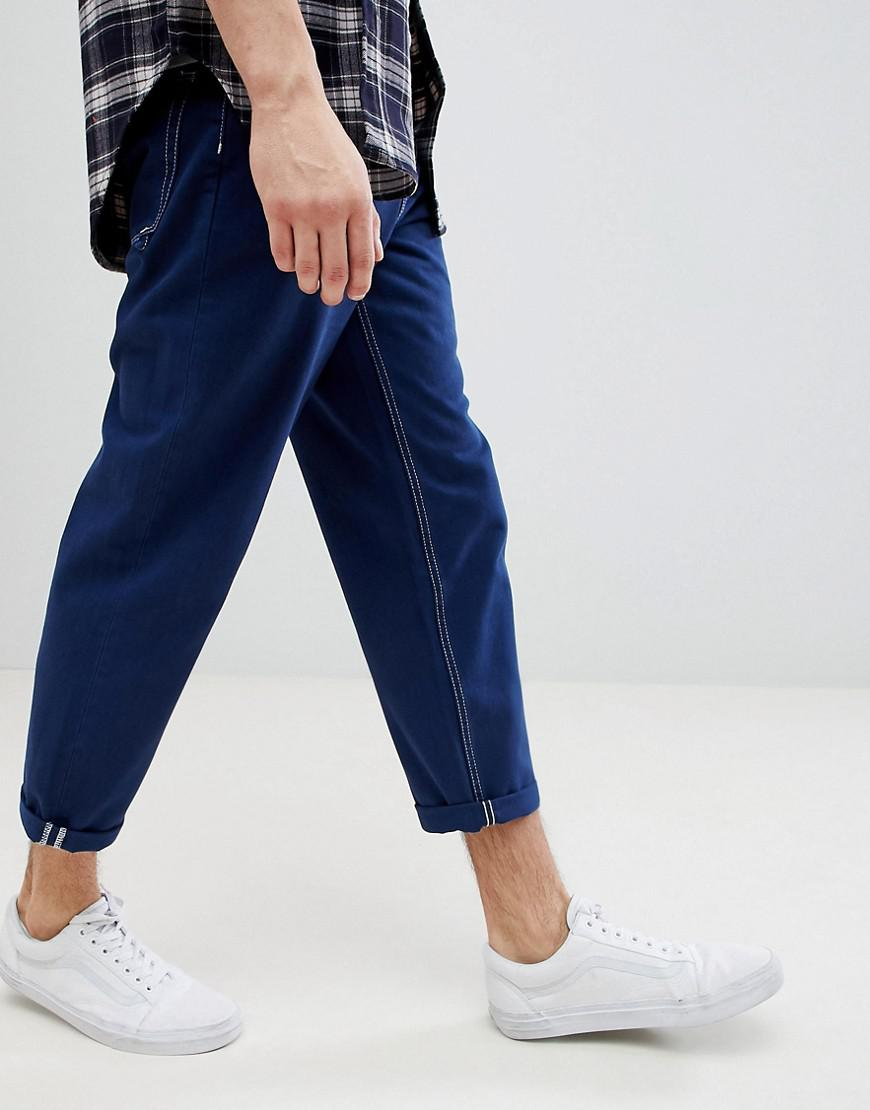 fa8365d8e385 ASOS Asos Skater Fit Jeans In Blue With Contrast Stitching in Blue ...