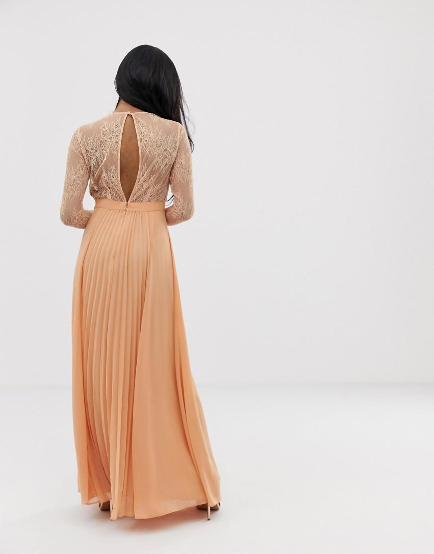 682283cc9a54 Lyst - ASOS Asos Design Petite Long Sleeve Lace Panelled Pleat Maxi Dress  in Brown