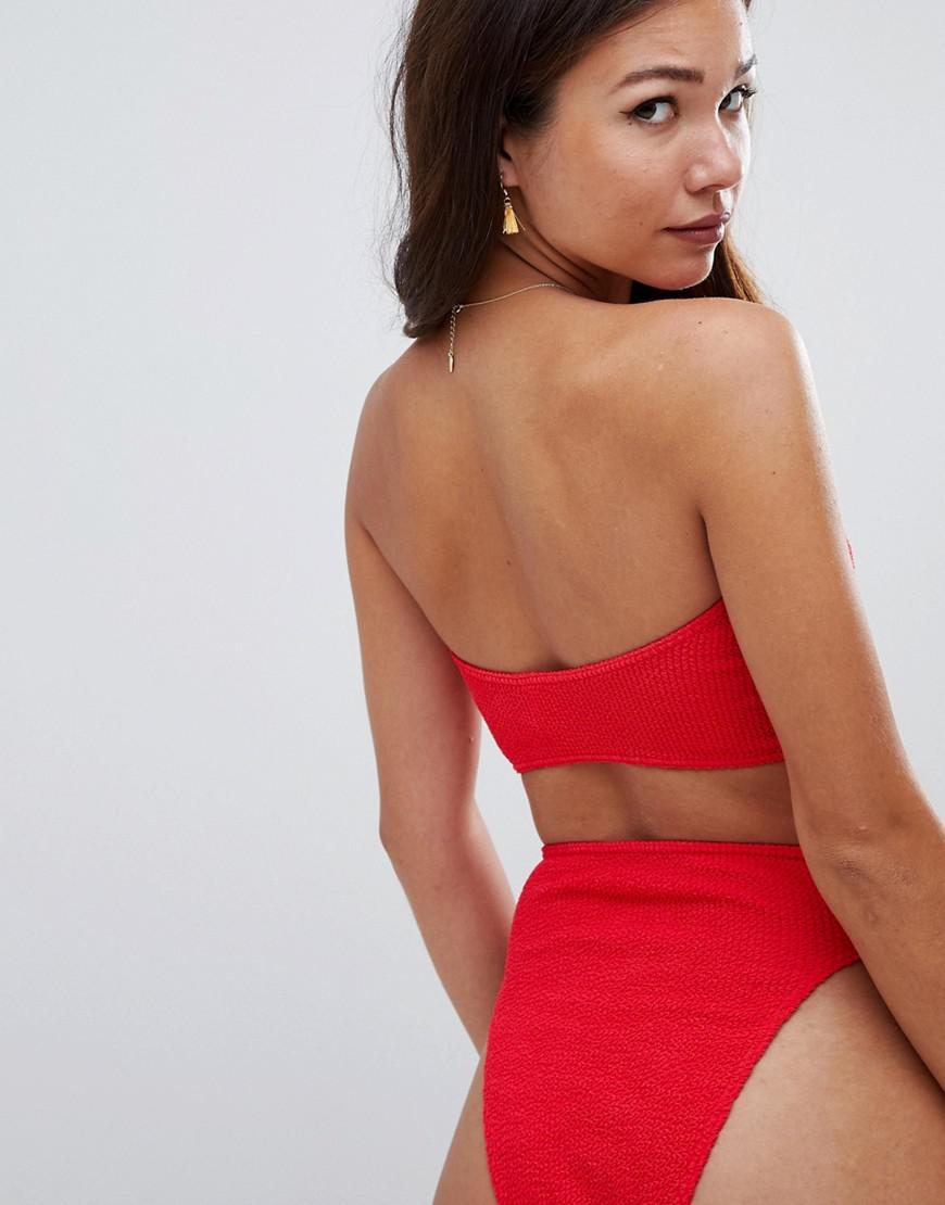 3d4418b61c Lyst - ASOS Mix And Match Crinkle High Leg High Waist Bikini Bottom in Red  - Save 35%