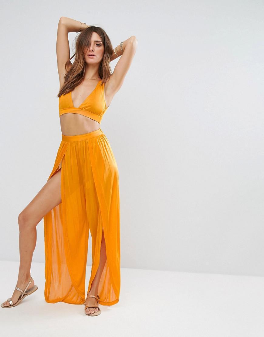 dc1bd892c6 ASOS Beach Co-ord Split Pant In Slinky in Orange - Lyst
