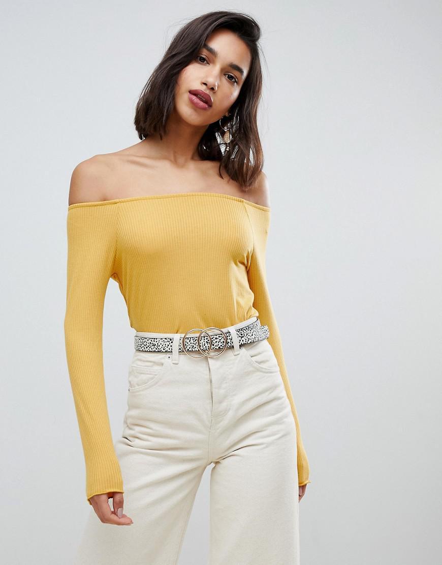 a5a51df4918 Vero Moda Ribbed Bardot Top in Yellow - Lyst