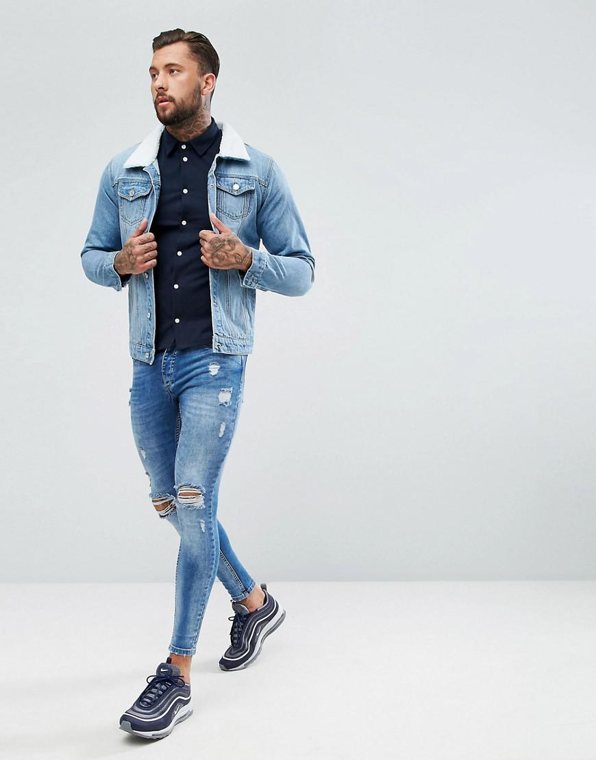 886ea1c3787 Lyst - BoohooMAN Denim Jacket With Borg Collar In Light Wash in Blue ...