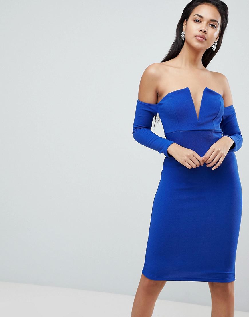 Lyst - ASOS Asos V Bar Bardot Textured Midi Dress in Blue 19d9eb5f8