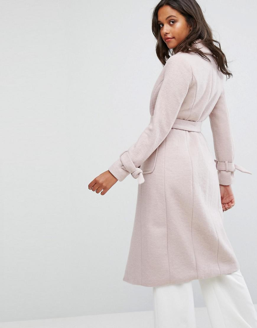 d74b8ad1af56 Lipsy Long Wool Coat in Pink - Lyst