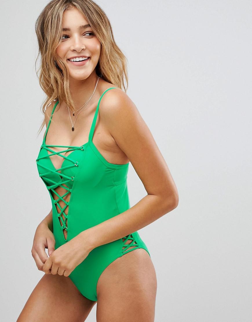 d5b08b09f6e2d Ann Summers Riviera Swimsuit in Green - Lyst