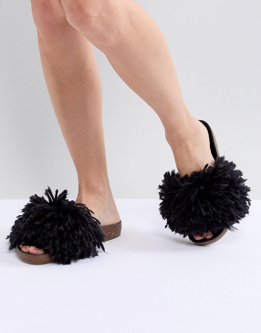 4056872d399e UGG Cindy Black Shaggy Slides in Black - Lyst