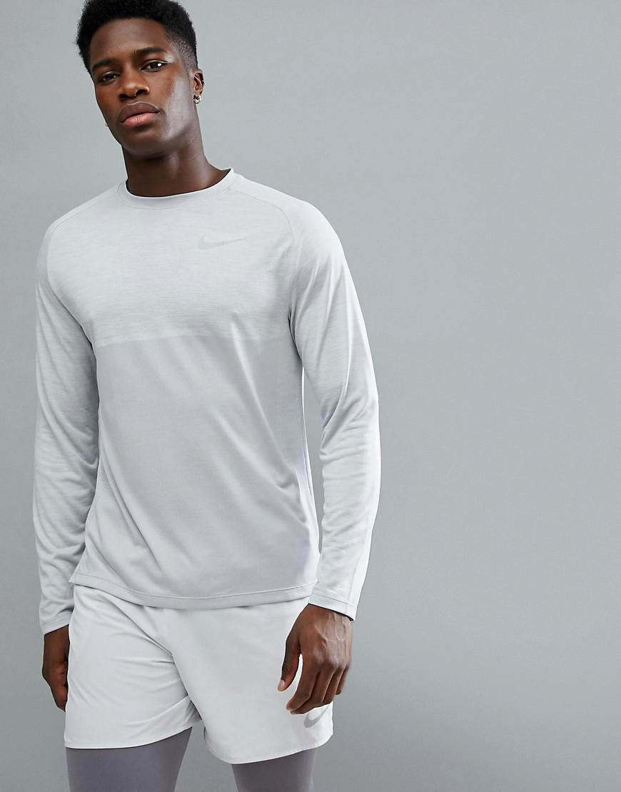 2e053507 Nike Dry Medalist Knitted Long Sleeve Top In Grey 891424-027 in Gray ...
