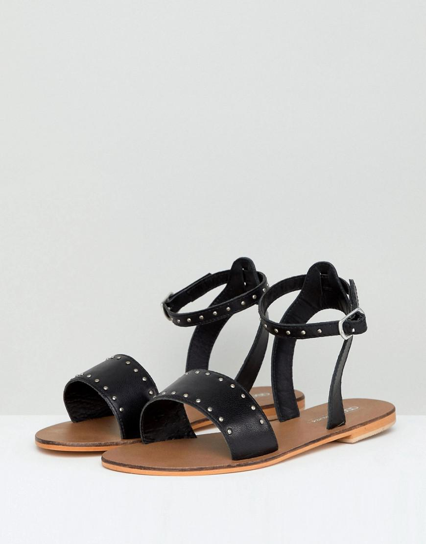 d2e47ab75 Lyst - ASOS Freja Leather Wide Fit Studded Flat Sandals in Black