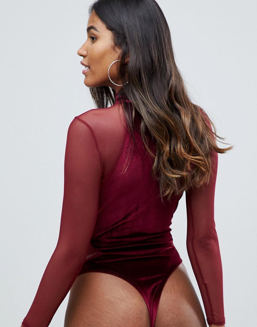 abcd87ee736 Missguided Plunge Cut Out Velvet And Mesh Body In Burgundy in Red - Lyst