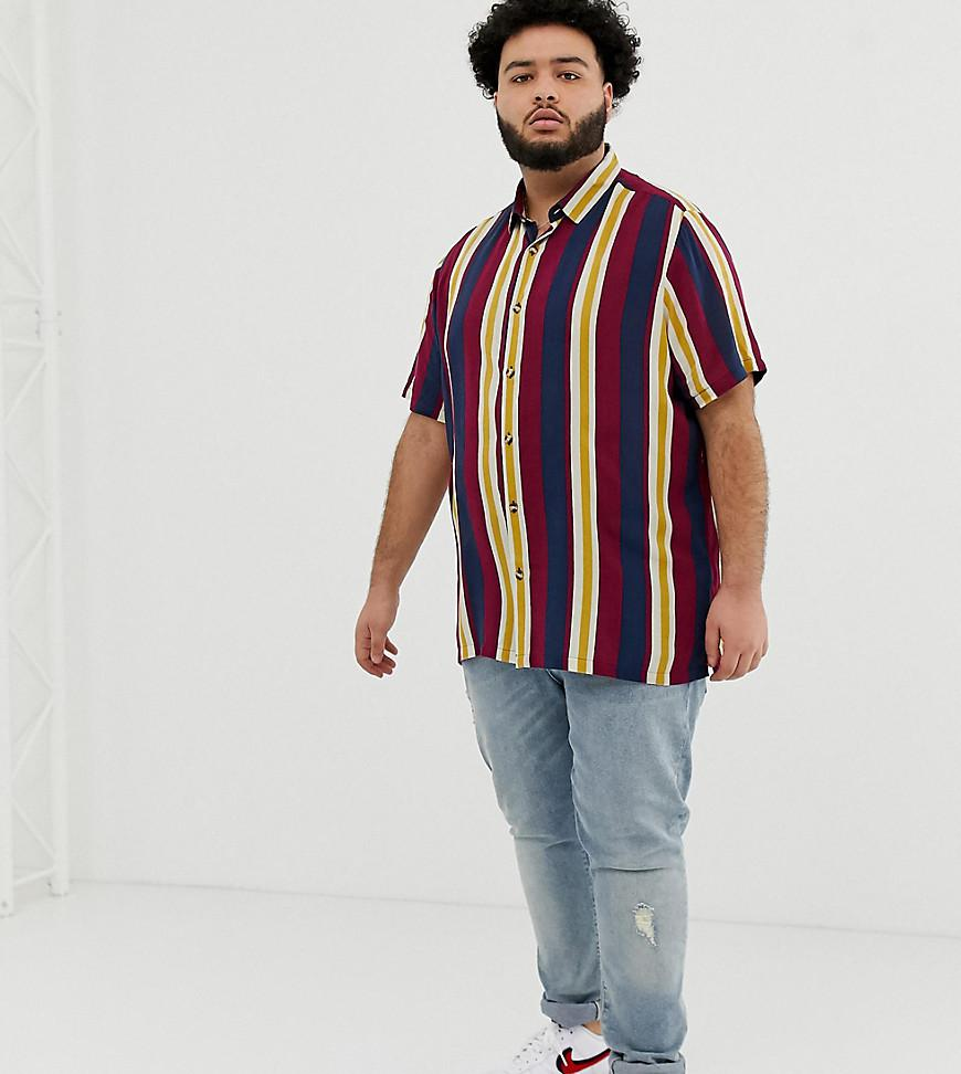 5e2340428c ASOS. Men's Blue Plus Oversized Fit Retro Stripe Shirt In Navy And Mustard