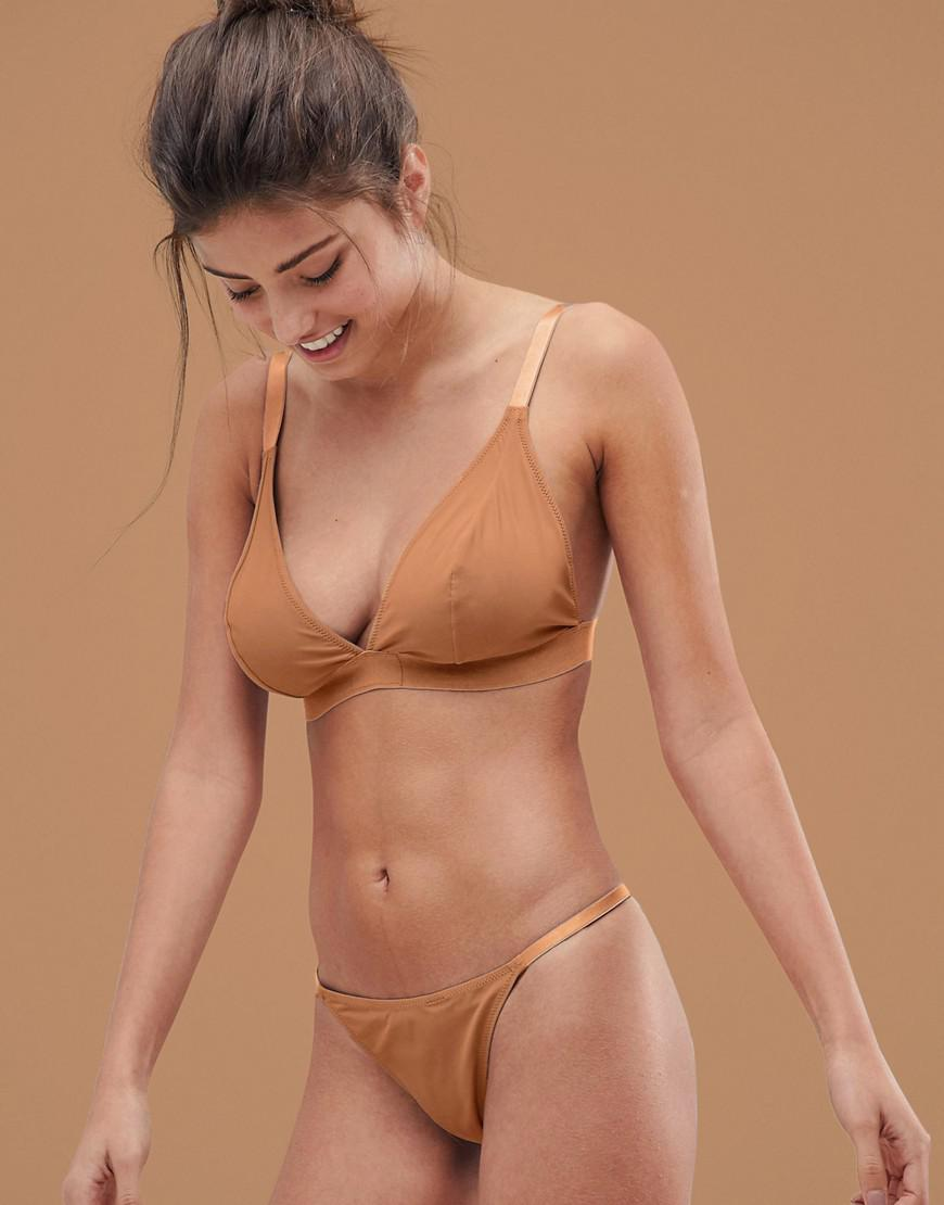 644a738ae1 ASOS. Women s Brown Fuller Bust Basic Microfibre Triangle Bra In Tonal  Golden
