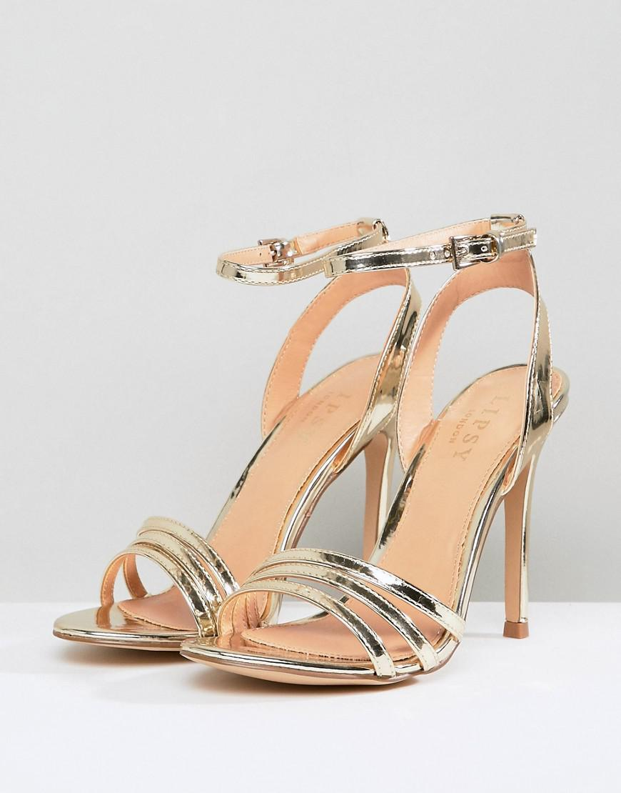 14862c8e12c Lipsy 3 Strap Barely There Sandal in Metallic - Lyst