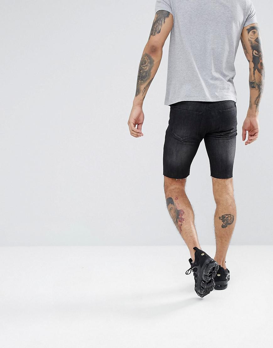 Lyst - Short skinny en jean avec cusson squelette Religion pour homme en  coloris Noir c90f30753cd