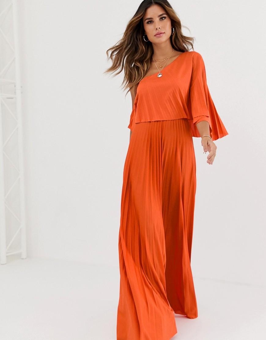 04eee91e8d8 ASOS One Shoulder Pleated Crop Top Maxi Dress in Orange - Lyst