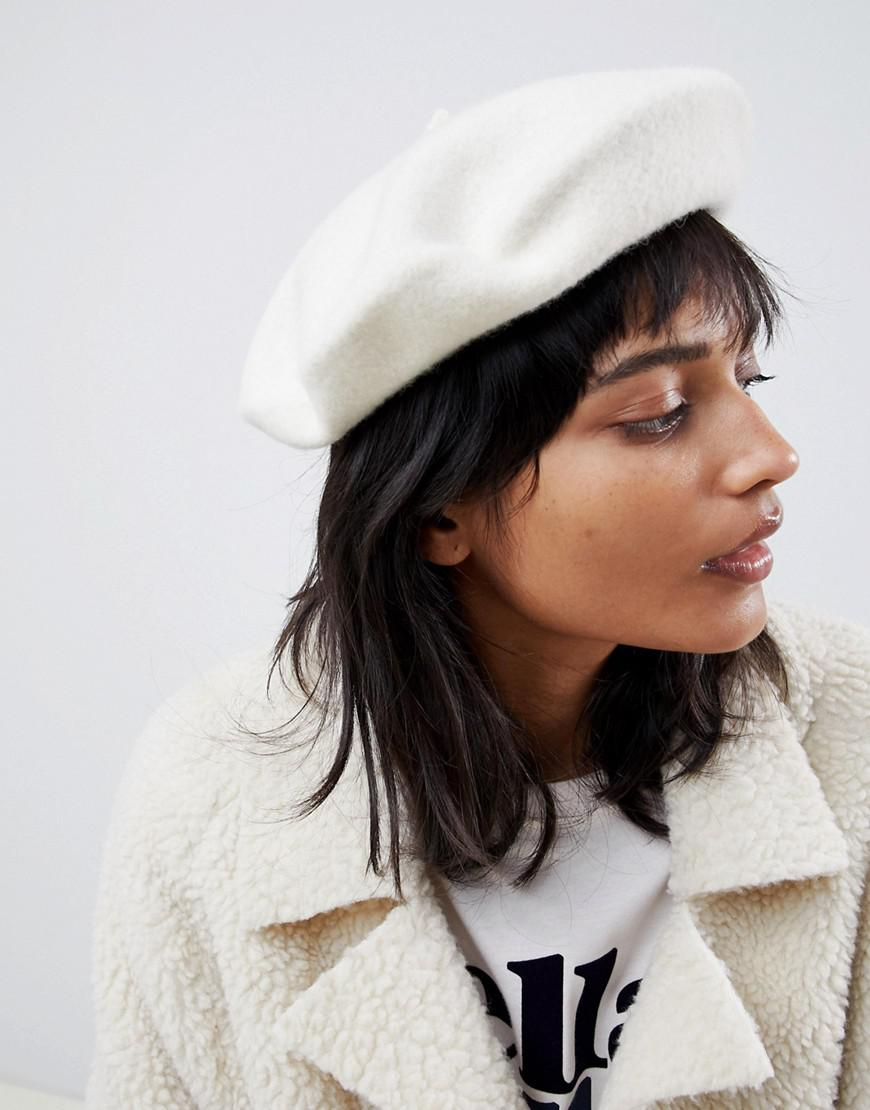 d5b904d4081fb Lyst - ASOS Wool Beret With Bound Edge in White