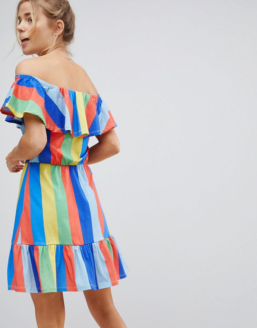 e1f304ddf44 ASOS Asos Off Shoulder Sundress With Tiered Skirt In Rainbow Stripe ...