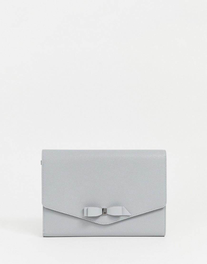 77e8782c9 Ted Baker Krystan Leather Envelope Clutch in Gray - Lyst
