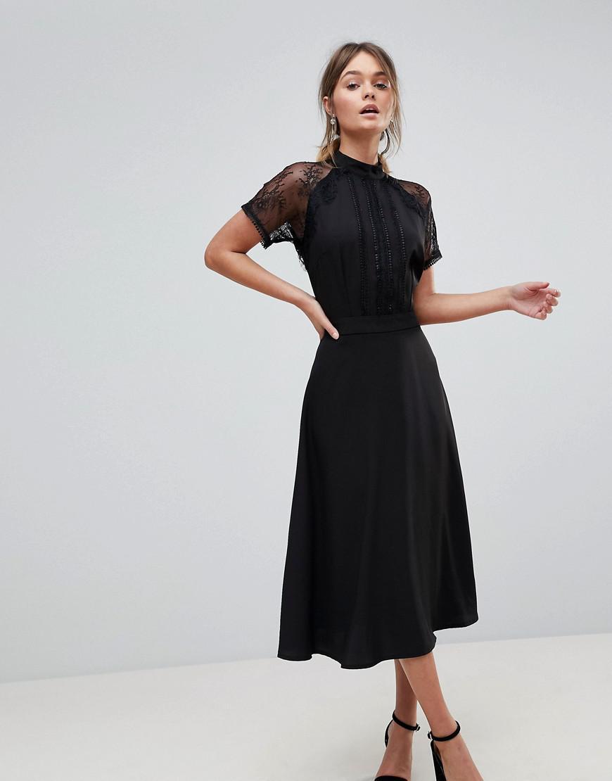 56aa08cc0ee Liquorish - Black A Line Lace Detail Midi Dress - Lyst. View fullscreen